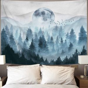 Misty Magical Foggy Forest Mountain Tapestry